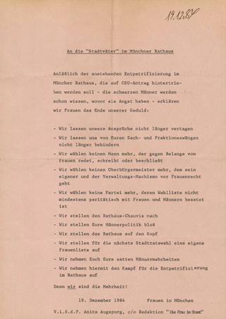 """An die """"Stadtväter"""" im Münchener Rathaus"""