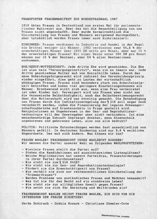 Frankfurter Frauenmanifest zur Bundestagswahl 1987