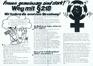 Frauen gemeinsam sind stark! : Weg mit § 218; Wir fordern die ersatzlose Streichung!