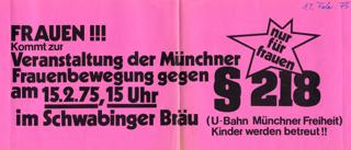 Frauen!!! : Kommt zur Veranstaltung der Münchner Frauenbewegung gegen § 218