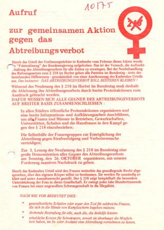 Aufruf zur gemeinsamen Aktion gegen das Abtreibungsverbot