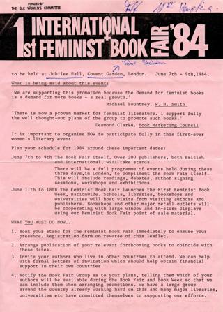 1st [First] International Feminist Book Fair '84