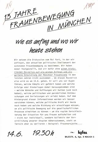 13 [Dreizehn] Jahre Frauenbewegung in München