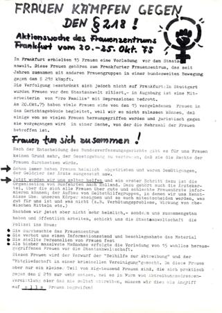 Frauen kämpfen gegen den § 218! : Aktionswoche des Frauenzentrums Frankfurt vom 20. - 25. Okt. 75