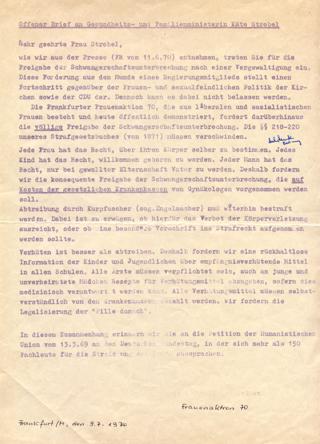 Offener Brief an Gesundheits- und Familienministerin Käte Strobel
