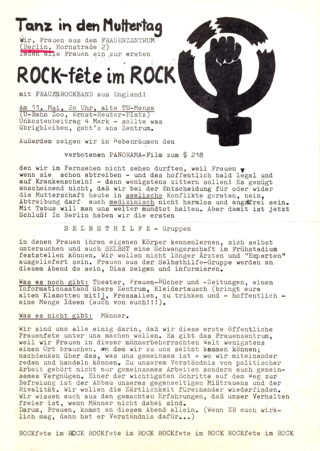 Tanz in den Muttertag : ROCK-fete im ROCK vom Frauenzentrum