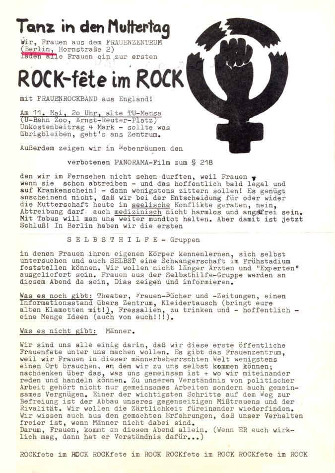 Tanz in den Muttertag : ROCK-fete im ROCK vom Frauenzentrum