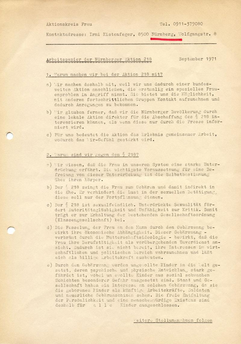 Arbeitspapier der Nürnberger Aktion 218