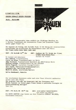 Symposium gegen Gewalt gegen Frauen 24.10. - 26.10.1986