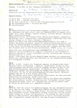 Protokoll vom Plenum am 11. März 1971
