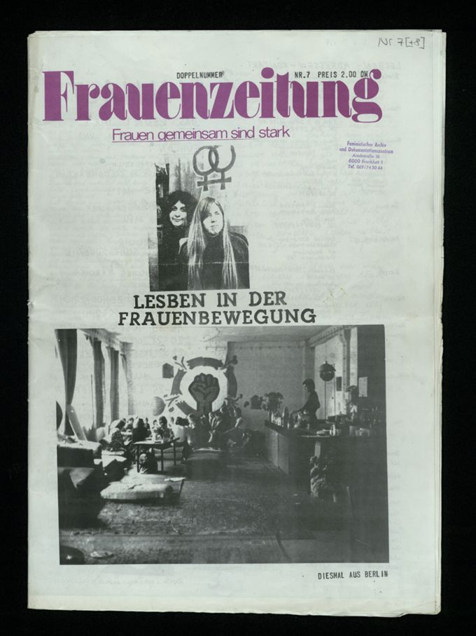 Frauenzeitung : Frauen gemeinsam sind stark ; Lesben in der Frauenbewegung (1975)7/8 / Seite 1