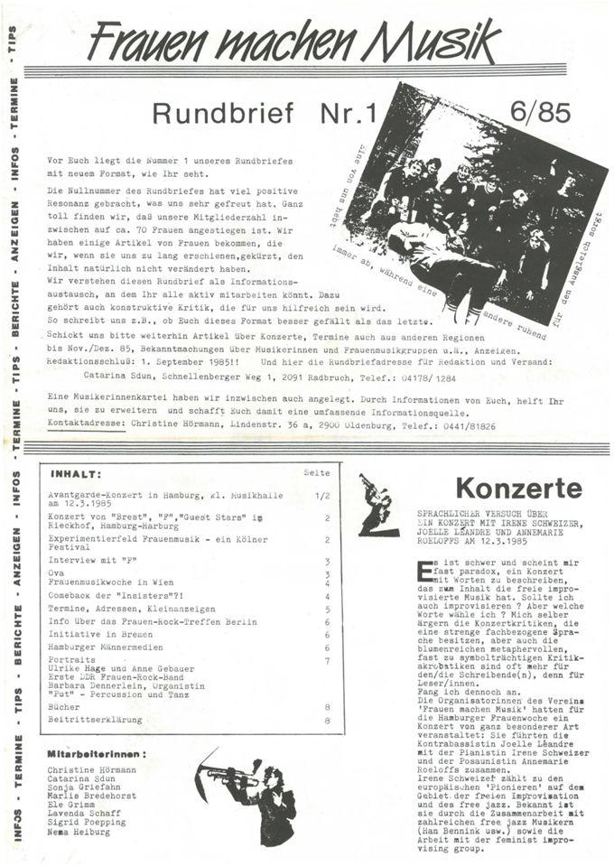 Rundbrief 1 / Seite 1
