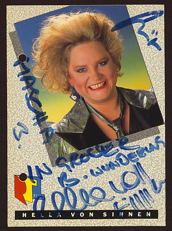 Autogrammkarte von Hella von Sinnen, gewidmet an Elke Mascha Blankenburg