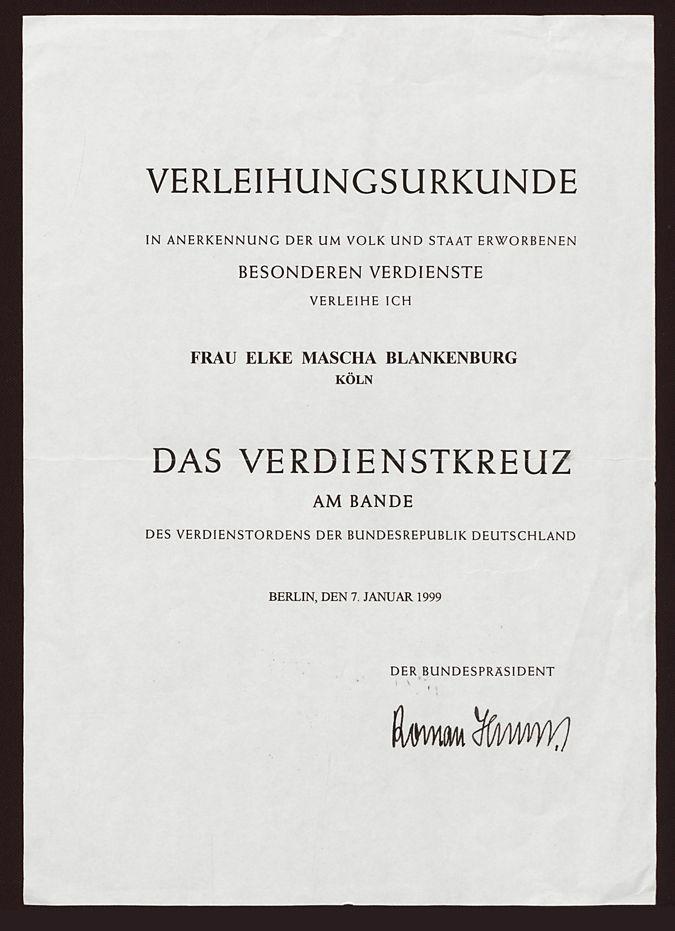 Verleihungsurkunde des Bundesverdienstkreuz