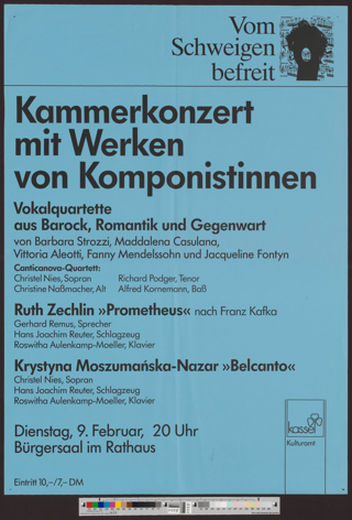 Kammerkonzert mit Werken von Komponistinnen : Vokalquartette aus Barock, Romantik und Gegenwart