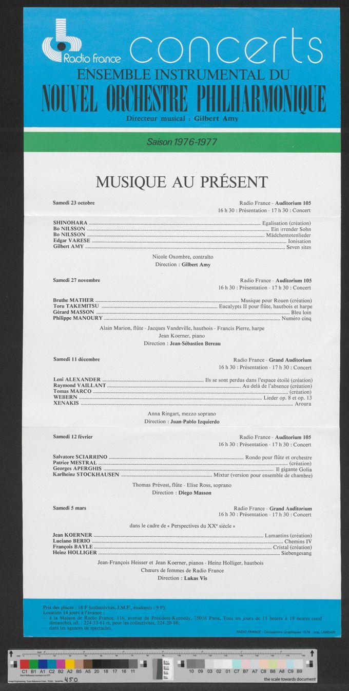 Flyer: Radio France Concerts, Saison 1976-1977 / Seite 1
