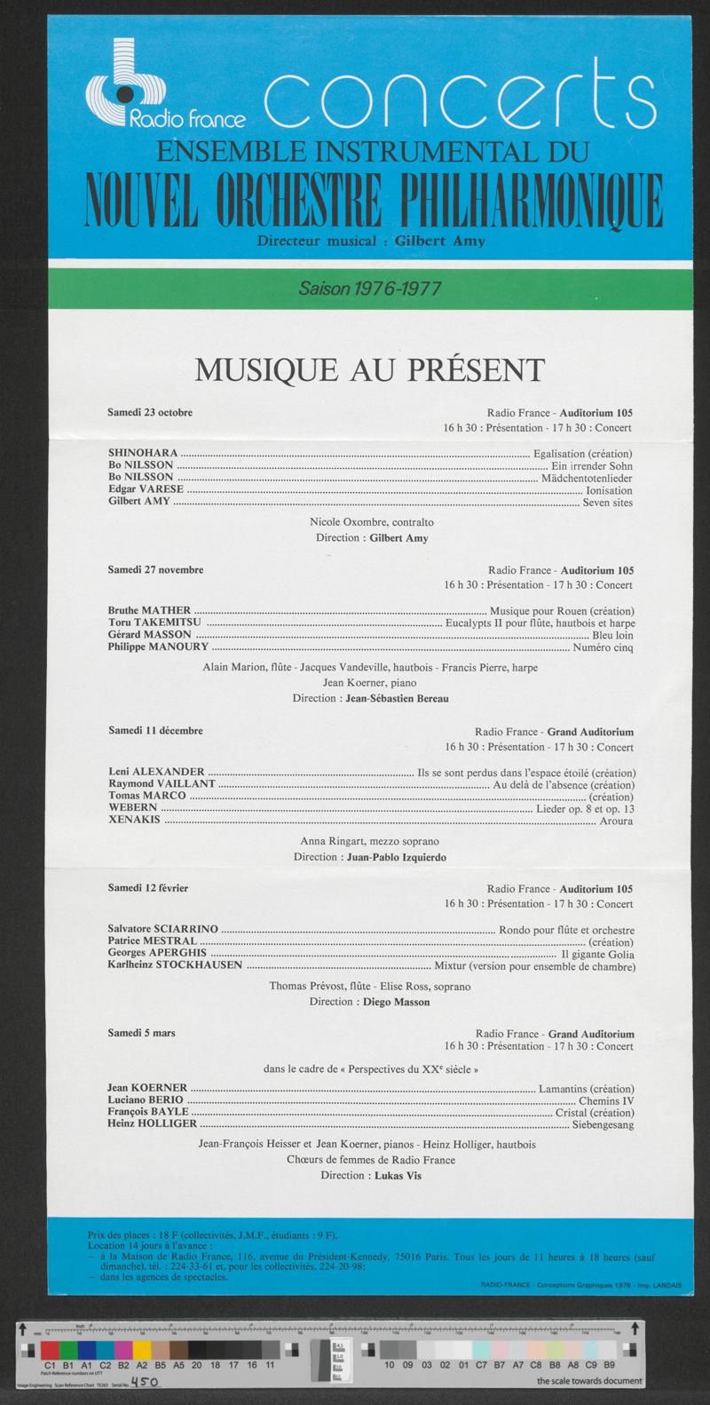 Flyer: Radio France Concerts, Saison 1976-1977