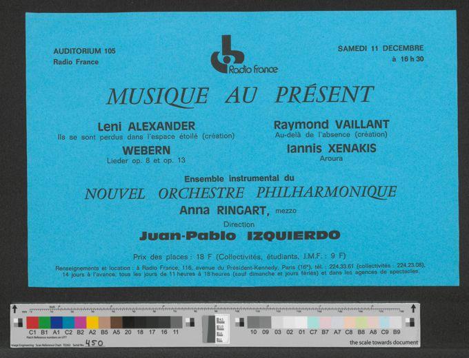 Flyer: Musique Au Present, 11. Dezember 1976 / Seite 1