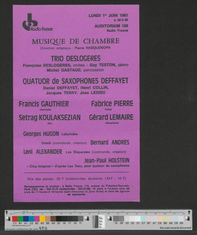 Flyer: Musique De Chambre, 1. Juni 1981 / Seite 1