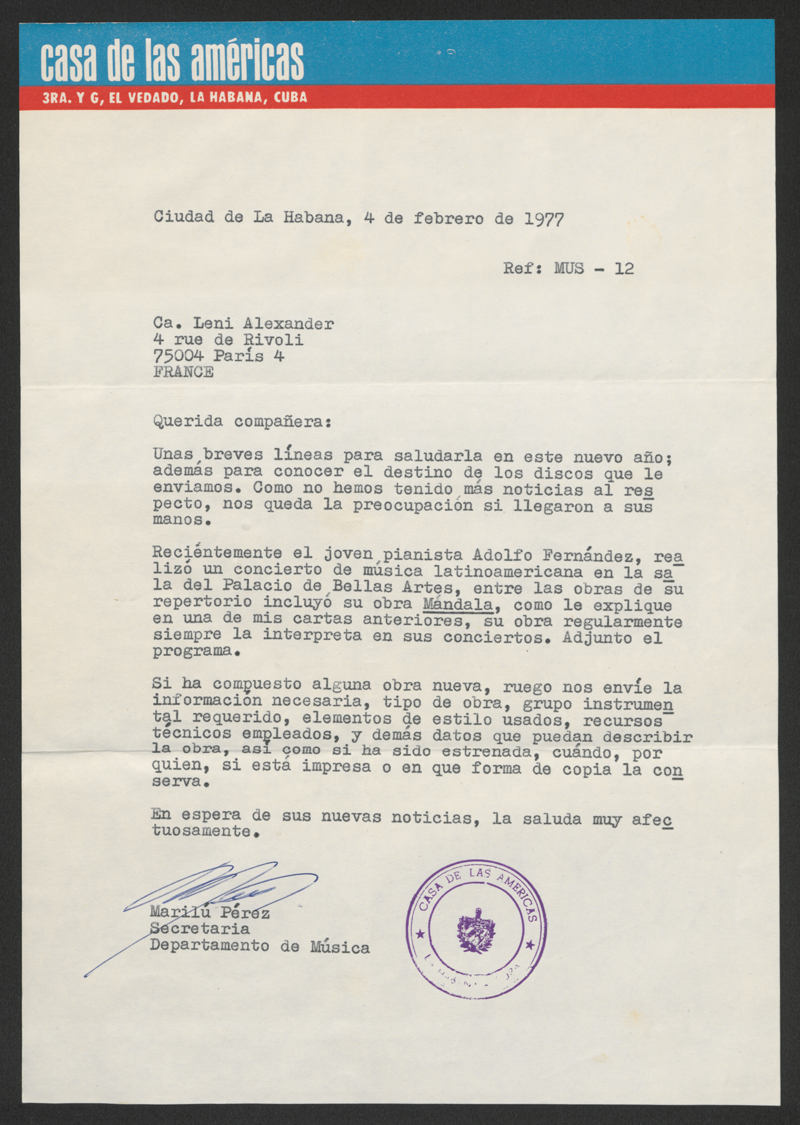 Brief: Casa de las Américas an Leni Alexander, 4. Februar 1977