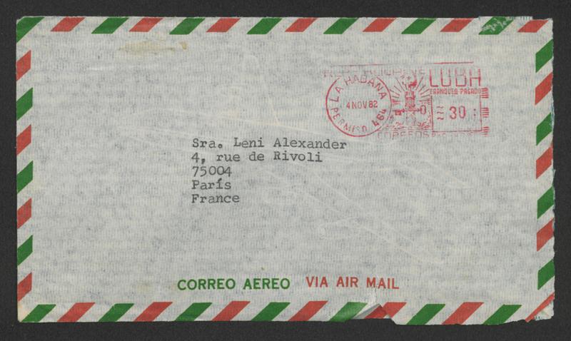 Brief: Casa de las Américas an Leni Alexander, 20. Oktober 1982