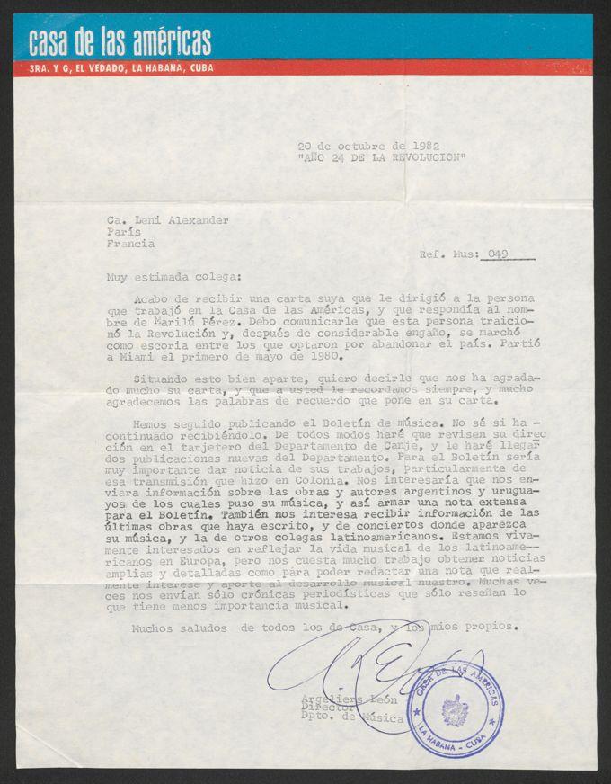 Brief: Casa de las Américas an Leni Alexander, 20. Oktober 1982 / Seite 3