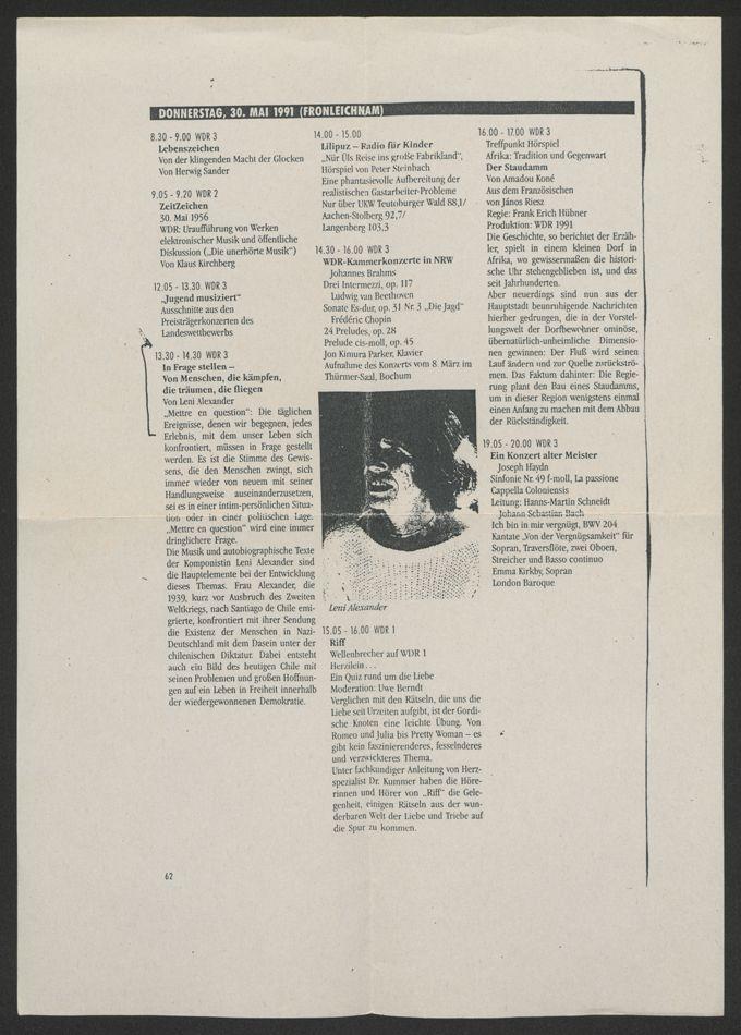 Programm Sendetag WDR, 30. Mai 1991 / Seite 1