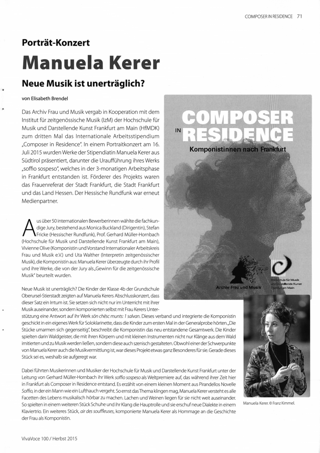 Porträt-Konzert Manuela Kerer. Neue Musik ist unerträglich?