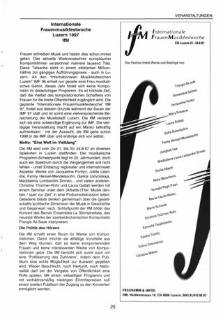 Internationale Frauenmusikfestwoche Luzern 1997 lfM
