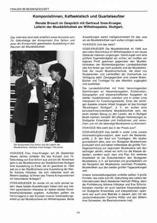 Komponistinnen, Kaffeklatsch und Quartalseufzer : Ein Gespräch mit Gertrud Voss-Krueger, Leiterin der Musikbibliothek am Wilhelmspalais, Stuttgart