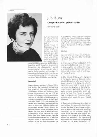 Zum 90. Geburtstag der Komponistin Grazyna Bacewicz