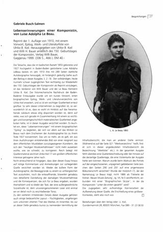 Lebenserinnerungen einer Komponistin, von Luise Adolpha Le Beau