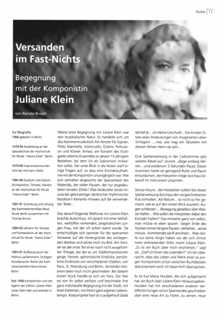 Versanden im Fast-Nichts. Begegnung mit der Komponistin Juliane Klein