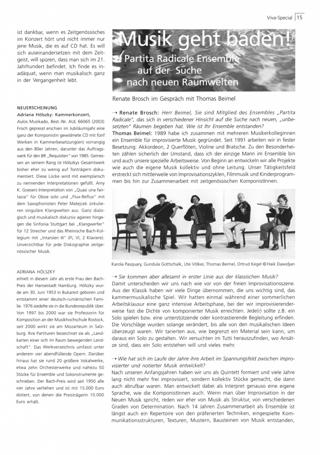 Musik geht baden! : Partita Radicale Ensemble auf der Suche nach neuen Raumwelten