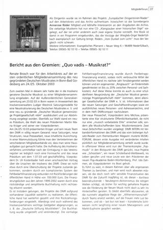 Bericht aus den Gremien: ,,Quo vadis - Musikrat?
