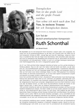Zum Tod der deutsch-amerikanischen Komponistin Ruth Schonthal