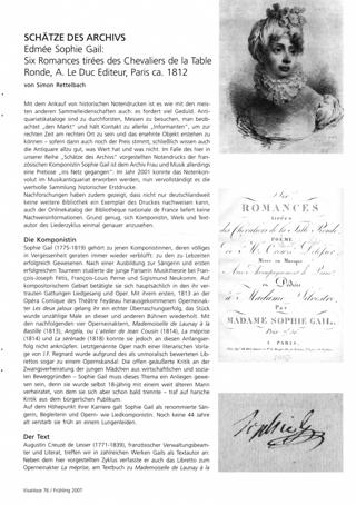 Schätze des Archivs -  Edmée Sophie Gail: Six Romances tirées des Chevaliers de la Table Ronde