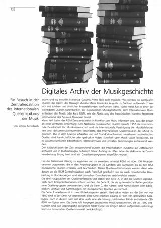 Digitales Archiv der Musikgeschichte
