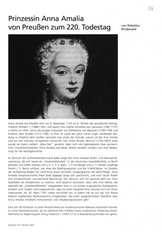 Prinzessin Anna Amalia von Preußen zum 220. Todestag