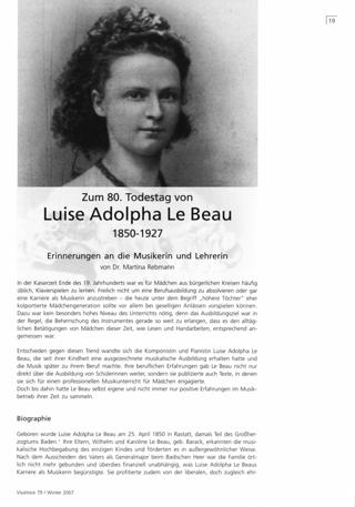 Zum 80. Todestag Luise Adolpha Le Beau