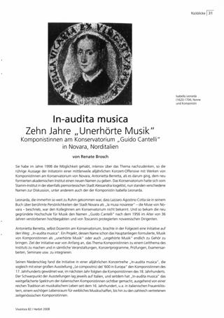In-audita musica. Zehn Jahre