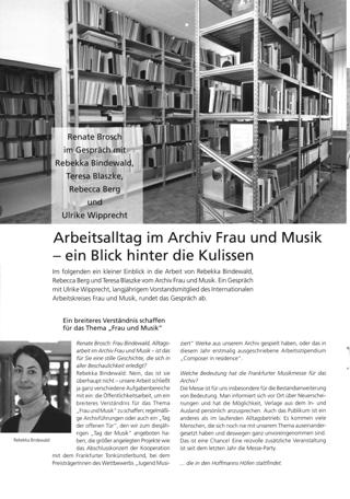 Arbeitsalltag im Archiv Frau und Musik - ein Blick hinter die Kulissen