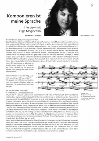 Komponieren ist meine Sprache : Ein Interview mit Olga Magidenko