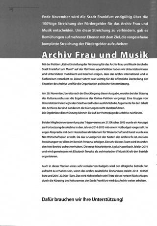 Archiv Frau und Musik - die Zukunft will erobert sein!