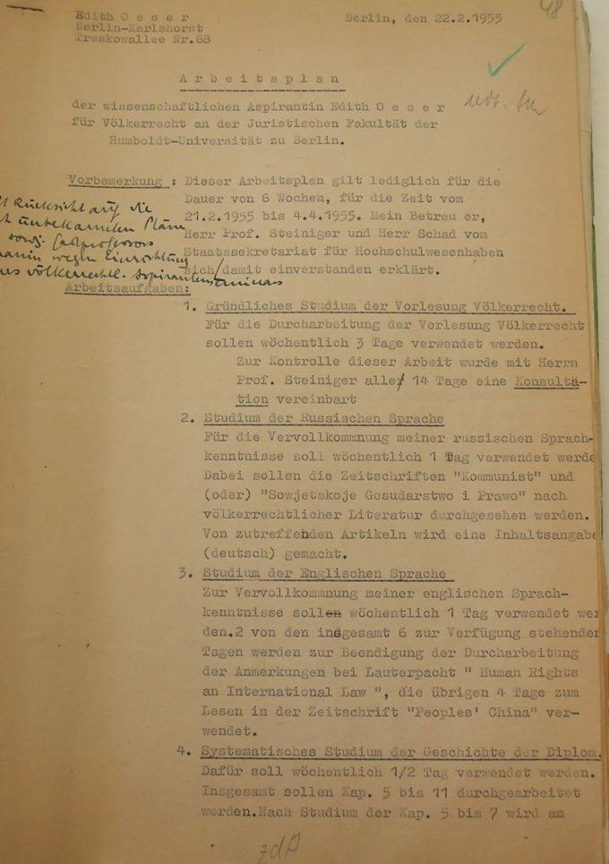 Arbeitsplan vom 21.2. bis 4.4.1955