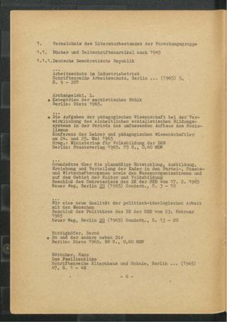 Verzeichnis des Literaturbestandes der Forschungsgruppe : Stand September 1965