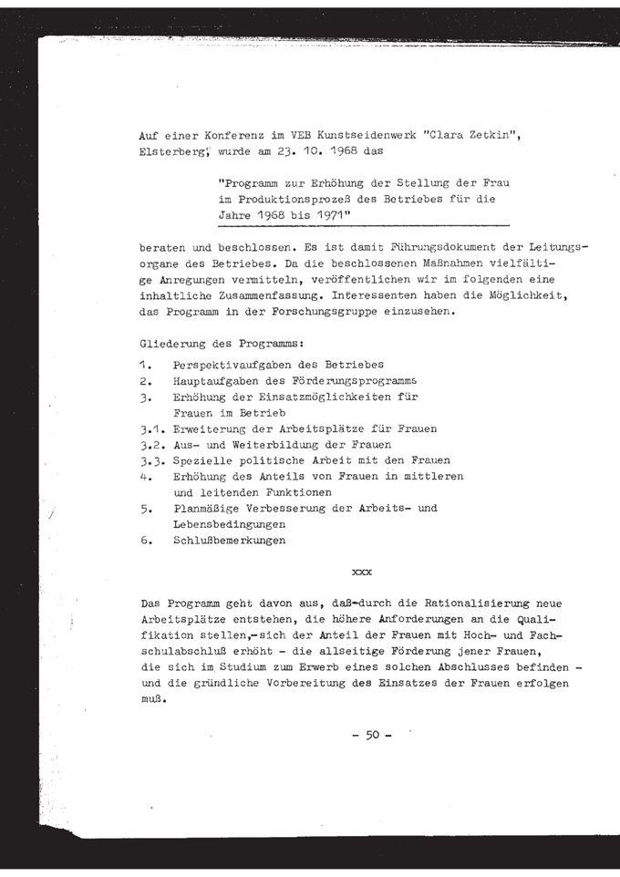 """Programm zur Erhöhung der Stellung der Frau im Produktionsprozeß des Betriebes für die Jahre 1968 bis 1971 : Konferenz im VEB Kunstseidenwerk """"Clara Zetkin"""" Elsterberg / Seite 1"""