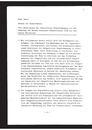 Die Entwicklung der bürgerlichen Frauenbewegung von der Gründung des Bundes Deutscher Frauenvereine 1894 bis zum ersten Weltkrieg : Thesen zur Dissertation
