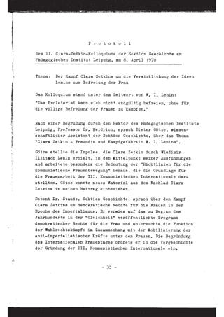 Protokoll des II. Clara-Zetkin-Kolloquiums der Sektion Geschichte am Pädagogischen Institut Leipzig am 8. April 1970