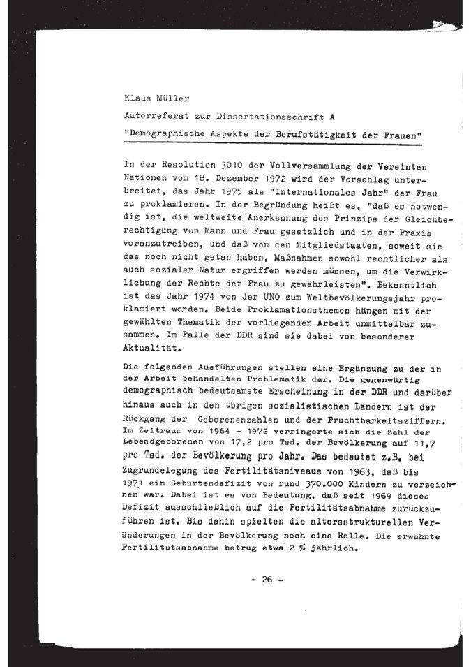 Demographische Aspekte der Berufstätigkeit der Frauen : Thesen zur Dissertation / Seite 14